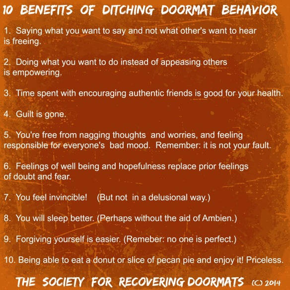 10 Benefits of ditching doormat behavior